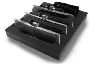 set de 3 lentes con pinza en su caja