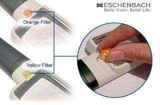lupa eschenbach con filtro amarillo y naranja