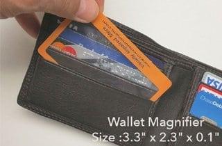lupa tarjeta de visita para llevar en el bolsillo