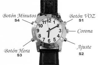reloj parlante con ajustes
