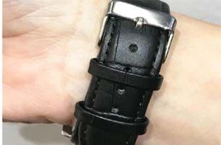 reloj de pulsera en piel negro