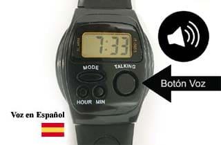 reloj con botón de voz en español