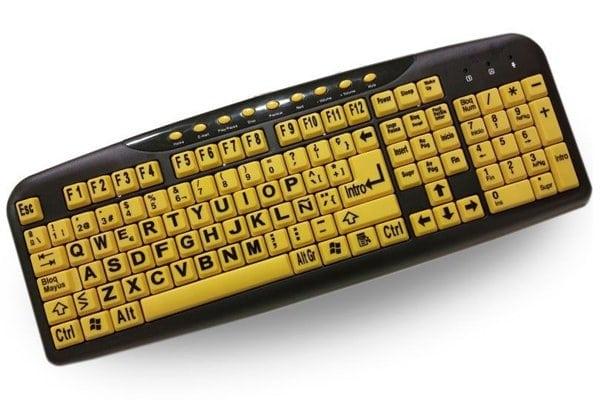 teclado de ordenador amarillo